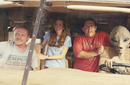 "Simon Pegg, Kristen Wiig and Nick Frost in ""Paul."""
