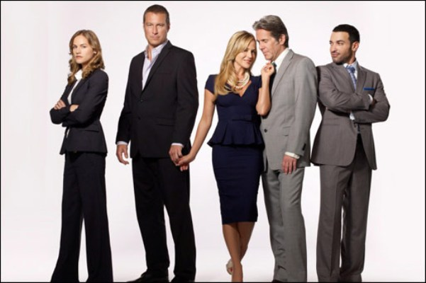 "Kelly Overton, John Corbett, Julie Benz, Gary Cole and Haaz Sleiman in ""Ricochet."""
