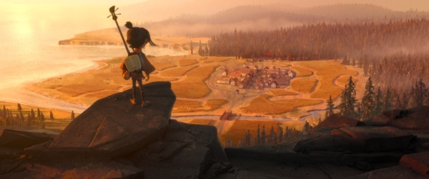 Kubo (voiced by Art Parkinson) takes in the scenery below as he sets off on a journey to his village in animation studio LAIKA's epic action-adventure KUBO AND THE TWO STRINGS, a Focus Features release.  Credit: Laika Studios/Focus Features