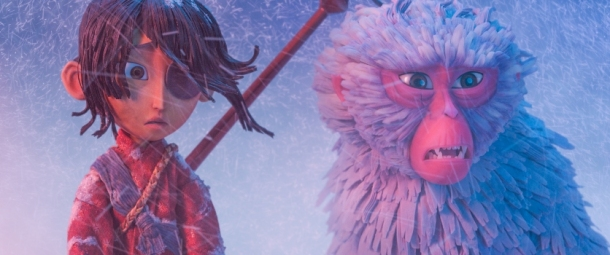 (l-r) Kubo (voiced by Art Parkinson) and Monkey (Academy Award winner Charlize Theron) search the tundra for shelter from the storm in animation studio LAIKA's epic action-adventure KUBO AND THE TWO STRINGS, a Focus Features release. Credit: Laika Studios/Focus Features