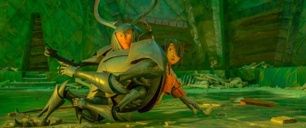 (l-r.) After they unknowingly fall into The Hall of Bones, Beetle (Academy Award winner Matthew McConaughey) is given a hand by his new friend Kubo (voiced by Art Parkinson) in animation studio LAIKA's epic action-adventure KUBO AND THE TWO STRINGS, a Focus Features release. Credit: Laika Studios/Focus Features
