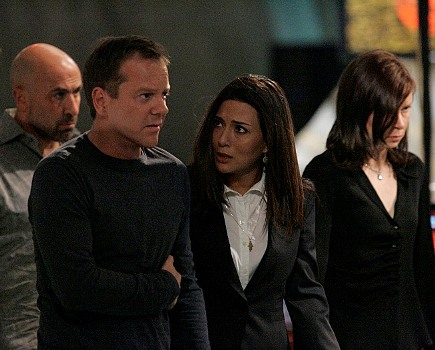 "24: L-R:  Morris, Jack, Nadia and Chloe (Carlo Rota, Kiefer Sutherland, Marisol Nichols and Mary Lynn Rajskub) plot against the terrorists who have infultrated CTU in the 24 episode ""Day 6: 1:00 A.M. - 2:00 A.M."" which aired on Monday, May 7 (9:00-10:00 PM ET/PT) on FOX. ©2007 Fox Broadcasting Co.   Cr: Kelsey McNeal/FOX"