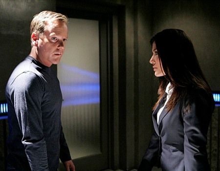 "24:  Jack (Kiefer Sutherland, L) talks to Nadia (Marisol Nichols, R) about Audrey in the 24 episode ""Day 6: 1:00 A.M. - 2:00 A.M."" which aired on Monday, May 7 (9:00-10:00 PM ET/PT) on FOX. ©2007 Fox Broadcasting Co.   Cr: Kelsey McNeal/FOX"