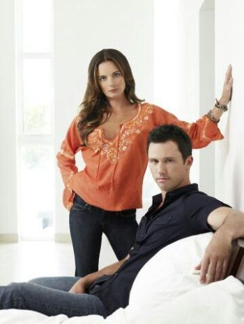 "Jeffrey Donovan and Gabrielle Anwar in ""Burn Notice."""