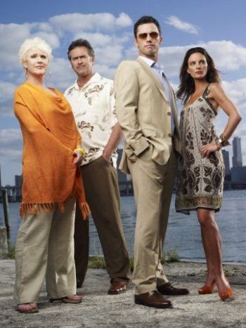 "Sharon Gless, Bruce Campbell, Jeffrey Donovan and Gabrielle Anwar in ""Burn Notice."""