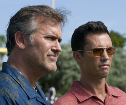 "Bruce Campbell and Jeffrey Donovan in ""Burn Notice."""