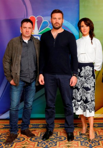 "NBCUNIVERSAL EVENTS — NBCUniversal Press Tour, January 2017 — NBC's ""Taken"" — Pictured: (l-r) Alex Cary, Executive Producer; Clive Standen, and Jennifer Beals — (Photo by: Paul Drinkwater/NBC)"